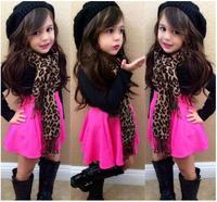 Retail 2015 new arrive baby girls Europe summer set 3 pcs set kids clothing set  t shirt dresses+scarf children clothing set