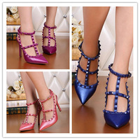 2015 New Style Rivet pointed high heel sandals Brand real leather T-strap Rockstud valentine WEDDING SHOES pumps