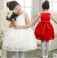 Girl Wedding and Party Dresses Girl's 3D rose Flower Gorgeous Princess Dress,Kids Formal Dress,dacing dress Free Shipping Q27
