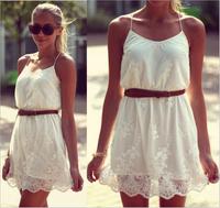 Women Girls Sweet Cute Mini Dresses O-Neck Sleeveless Spaghetti Strap Embroidery Dress Women