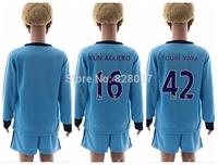 New Fashion Youth Kun Aguero Silva Jovetic Toure Milner Blue Yellow Soccer Jersey 14/15 Uniforms Kit Kids Long Sleeve Jersey