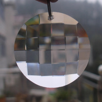 50pcs/lot, 45MM  round faceted checker beads crystal Disk in one hole Crystal Loose prism chandelier beads free shipping