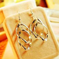 charming 925 Sterling Silver Golden Fashion Stylish Lady Bicyclic Dangle Ear Earrings Girls sleek earrings