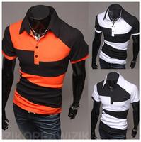 2015 New Style Men slim short sleeve splice T-shirts M/L/XL/XXL Wholesale free shipping