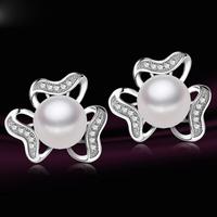 2015 New Item Real pearl Women's Flower Stud Earrings for girl's Birthday gifts