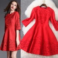New arrival 2015 spring and summer women's red jacquard cutout expansion bottom half sleeve one-piece dress