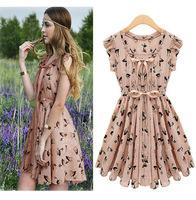 women summer dress 2015 new arrival short ruffles sleeve printing cute vestidos femininos plus size women clothing wholesale HOT
