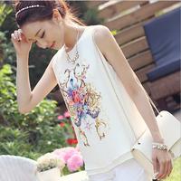 Print Shirt Tops 2015 Women's Fashion Simple Style Shirt Floral Print Round Neck Sleeveless Tank Tops Women blusas femininas
