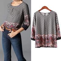 #YZX-XN Women Print Blouse Spring Summer Women Clothing Women's Blouses Shirts Bodycon Shirt
