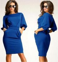 Hot Sale Sexy Women Dress 2015 New Fashion Casual Women's Winter Dress Slim Long Stretch Work Dresses Plus Size Office Dress