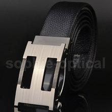 New Elegant Men's Black Leather Belt Auto Lock Buckle Dress & Casual Belts Free Shipping PD0379(China (Mainland))