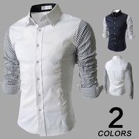 Fashion Casual Spring 2015 New Men's Stitching hit color Long-sleeved shirt Business Men Slim shirt  M-2XL White/Dark blue