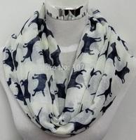 Free shipping ladies fashion dog  print infinity  scarf  hotsale infinity scarf