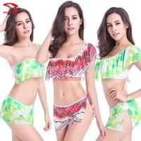 2015 New Sexy One-shoulder Bikini European style Vintage Biquini Swimwear Women Swimsuit  Summer Holiday Bathing Suit