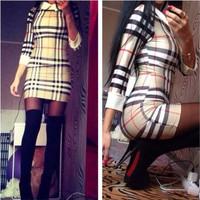 Hot Sale 2015 Spring Summer Fashion Women Brand Slim Bodycon Dress Short sleeved Plaid Print Dresses Lady Causal Dress
