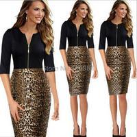 Fashion Leopard Europe splicing O-neck Half-Sleeve slim pencil dresses