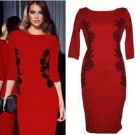 New 2015 summer women dress sexy  bodycon office dress black red vestidos plus size XXL casual party dresses roupas  Z1857