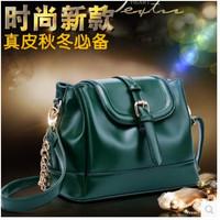 2014 autumn and winter genuine leather women's handbag female chain plaid bucket one shoulder cross-body bag