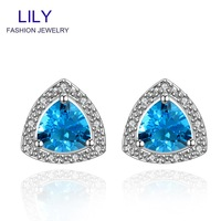 FVRE006 Christmas Gift Fashion Sapphire Jewelry Stud Earrings Platinum Plated Blue Big Crystal Earring Womens Jewellery