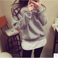 Free Shipping 2015 Women Hoody Spring Autumn Long Sleeve Casual Sweatshirt beading cute Hoodies Moletom Feminine