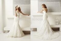 2015 Elegant Lace Mermaid Wedding Dresses Strap V-Neck With Bead Sash Deep V-Back Bridal Gowns Sweep Train V033