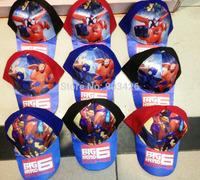 Free Shipping!100pcs/Lot ! 2015 Big Hero 6 Baymax Sun Hats Cartoon Visors For Kids Berets Caps G129 on Sale Wholesale