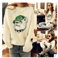 Free Shipping 2015 Women Hoody Spring Autumn Long Sleeve Casual Sweatshirt Women dog Print Hoodies Paris Moletom Feminine