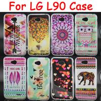 For LG L90 Case Balloons Flower Elephant Owl Mobile Phone Soft TPU Cases Cover For LG L90 D410 D405 D415