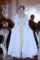 Caftan Blanc Mariage Maroc Round Neck Long Sleeves White And Green Long Robe Elegant Kaftan Evening Dresses New Fashion Caftan