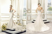 2015 Custom Organza Wedding Dress Sweetheart Intricate Crystal Buttons Along the Zipper Sweep Train Bridal Gowns V010