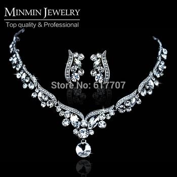 Новое поступление серебряный лист кристалл ожерелье серьги для женщин свадебные украшения ...