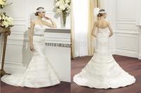 Ivory Organza Mermaid Wedding Dress 2015 Tiers Sweetheart Layers Optional Beaded Sash Zipper Sweep Train Bridal Gowns V012