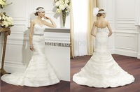 Ivory Organza Mermaid Wedding Dress 2015 Tiers Sweetheart Layers Optional Beaded Sash Zipper Sweep Train Bridal Gowns V012