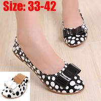 New 2015 Ladies Flats Shoes Alpargata Women Shose Zapatos Mujer Pu Leather Mocassin Sapatos Bowtie Dot Femininos Casual Shoe 42