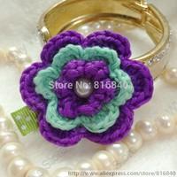 "2015 New 20pcs/lot 1.8"" Crochet Flower Clip Baby Tiny Clip Handmade Baby Clips Girl Gift  Infant Hair Clip 122"