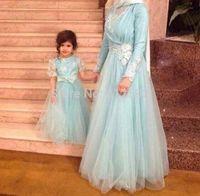 Fancy Dubai Kaftan Dress Mother Daughter Formal Sky Blue Evening Gown Long Sleeve Appliqued Tulle Muslim Islamic Abaya Vestidos