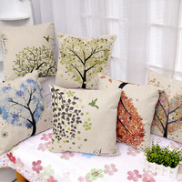 Colorful Tree Flowers Printed Linen Pillowcase 43x43cm Car Pillow Cushion Office Sofa Cushions Pillow Cover Home Decotation