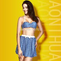 2015 new wave dotted dress style swimming body was thin waist bikini swimsuit steel prop gather female free shipping