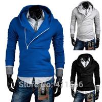 Free Shipping Men's Korean 2015 New Stylish Slim Skinny Hooded Hoodies Sweatshirts Inclined Zipper Plackets Pullover Coats Tops