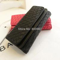 Woven Design Weave Quilted Lady long Women Zipper PU Leather Purse Clutch Wallet Fashion Change Purse