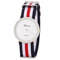 Geneva Round Thin Alloy Case Watch Stripe Grid Canvas Band Women Men Watches Military Analog Wristwatches relogios
