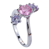 2015 New FashionPink Sapphire 925 Silver Ring Size 8 Pretty Women Jewelry For Gift Free Shipping