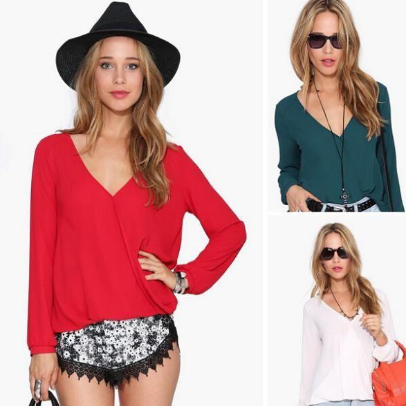 Женские блузки и Рубашки Blusas Femininas 2015 Plus Size Chiffon Blusas Femininas 2015 v/& 8 Women Blouse Long Sleeve 51