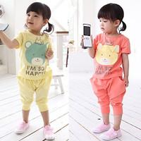 2015 summer girls' suits Crown Bear T-shirt printing letters + pp pants harem pants suits boy suit children