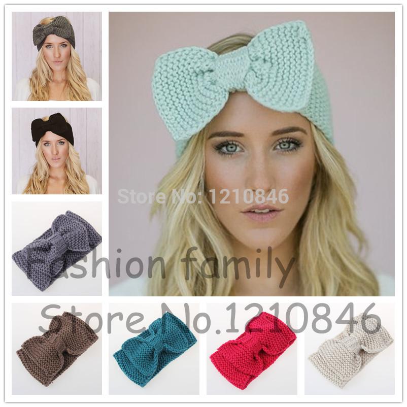 Женщины трикотажные повязка на голову мило с бантом повязка на голову аксессуары для волос зима крючком с бантом трикотажные тюрбан ухо теплым волос муфты
