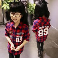 2015 winter new female Tong Gezi shirt, long-sleeved shirt collar plus velvet children , free shipping