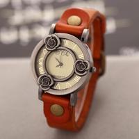 Vintage Flower Bronze Case Watch Ladies Dress Watches Retro Cowhide Strap Quartz Watch Analog Wrist watches for Women