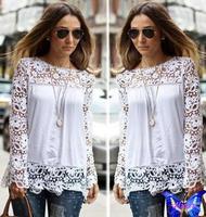 2014 New Women Crochet Lace Shirt Black White Hollow Long Sleeve Chiffon Blouse Plus Size Hot Sale