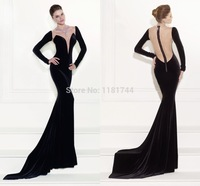 Beautifully Shaped Illusion Bodice Elegant Court Train Black Evening Dress Deep V Neck with Long Sleeves Mermaid Evening Gown