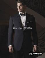 2015 Charming Black Groom Tuxedos terno noivo Shawl Lapel With Trim Groomsman Wedding Suits for Men (Jacket+Pants+Tie) S215